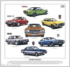 FORD GRANADA-FINE ART PRINT-Consul GT Ghia Sapphire coupé injection Mk1 Mk2