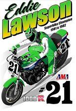Eddie Lawson #21 AMA Kawasaki1000R 1981 / 82 superbike champion magazine cover
