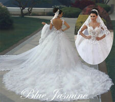 Gorgeous Sexy A-Line White/Ivory Wedding Dress Bridal Ball Gown Long Train Plus