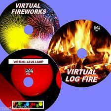 VIRTUAL AQUARIUM, FIREWORK DISPLAY & LAVA LAMP 3  DVD SET FOR PLASMA LED TV NEW