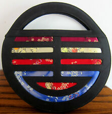 "Nolita Round Oriental & Black Fabric Purse 10"" dia zip pocket snap closure MINT"