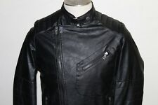 New American stitch Faux Leather black Jacket Men's Biker / Bomber Coat size S