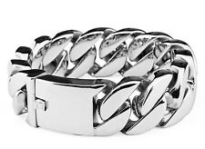 Fast Ship from US Rocker Biker Curb Cuban Titanium Stainless Steel Bracelet 8.5""