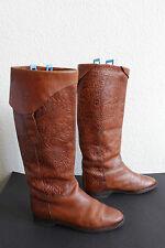 Vintage Armando Pollini Design Stiefel High Boots Voll Echtleder Braun 38