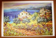 """Duaiv """"Seaside Village"""" Plate Signed Fine Art Lithograph French Scenic Waterside"""