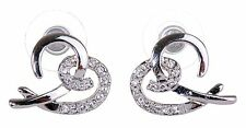 Swarovski Elements Crystal Open Heart Pierced Earrings Rhodium Plated New 7105y