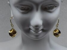 14kt yellow Gold Fancy Dangling Twisted 10mm Gold Ball Fish Hook Earrings