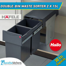 Hafele Double Bin Waste Sorter 2x15L Bottom Mounted kitchen cabinet, pull out