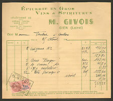 45 GIEN M. GIVOIS EPICERIE VINS SPIRITUEUX FACTURE FOUBERT COULLONS 1942