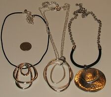 LOT OF 3 CHICOS NECKLACES, SILVERTONE PENDANT NECKLACES, CORD, CHAIN