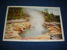 Vintage 1940s Linen PC Oblong Geyser, Yellowstone national park