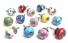 14 x Mixed Bright Coloured Ceramic Cupboard Drawer Kitchen Cabinet Knobs (MG-126