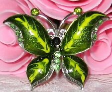 Girls Green Crystal Rhinestone Brooch new