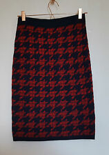 Jigsaw Wool Check Dogtooth Navy and Red Knit Bodycon Pencil Skirt S 8