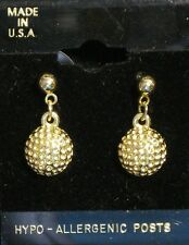 Golf Ball Stud/Drop Earrings - 14Kt gold overlay - Hypo-allergenic posts