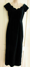 Monsoon VTG Style Full Length Deep Green Velvet Dress Scalloped Neckline S10 New