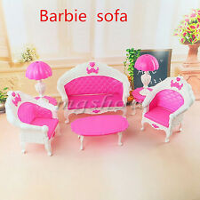 Furniture Living Room Parlour Sofa Set for Barbie Dollhouse Accessories Doll Toy