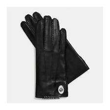 NEW Genuine COACH Gloves for Women Black Leather Turnlock w/100% Wool MSRP $128