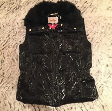 Juicy Couture Black Gilet With Faux Fur Trim