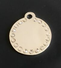 *SMALL* SILVER DIAMANTE DISC engraved Cat / Dog / Pet ID tags GLAMOUR / BLING
