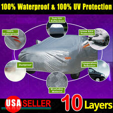 NEW 10Layer Soft Car Cover Aluminum Outdoor Snow Ice Sun UV Resist Waterproof YL