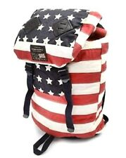 Ralph Lauren Denim Supply American USA US Flag Canvas Backpack Leather Trim Bag