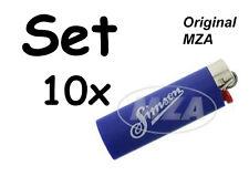 Simson 10x BIC-Feuerzeug, blau Chromkappe - Schriftzug: und Allzeit Gute Fahrt