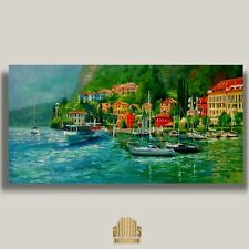 YARY DLUHOS Italy Lake Como Boat Lombardy Landscape Original Modern Oil Painting