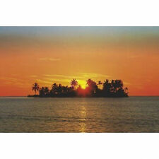 SUNSET ISLAND - TROPICAL LANDSCAPE POSTER 24x36 - OCEAN BEACH PALM TREES 2612