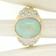 Estate Large Bold Textured 18K Yellow Gold 8.35ct Oval Bezel Opal & Diamond Ring