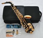 Top Quality Black Gold Bell Alto Saxophone engraving Eb Sax High F# Free 10xReed