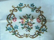 EP N636 Vintage Rose Floral Chair Seat Needlepoint  White Canvas