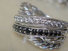 $1250 DAVID YURMAN STERLING PAVE BLACK, WHITE DIAMOND CROSSOVER RING sz 6