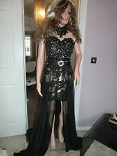 STUNNING ILLUSION LACE *SHERRI HILL* 21213 * SHEER DRAPE OVERLAY 2 IN 0NE GOWN !