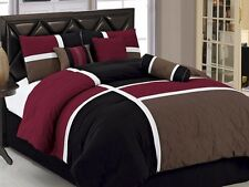 7pcs Medallion Quilted Patchwork Comforter Set Queen, Burgundy Brown Black