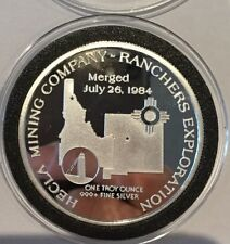 1985 Hecla Mining & Ranchers Exploration 1 Troy Oz .999 Fine Silver Proof Coin
