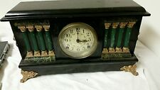 RARE Vintage Sessions,8 Column, Shelf Mantle Clock with Lion Adornments W/key