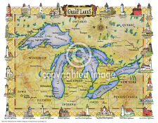 """19.5 x 25"""" Great Lakes Vintage Look Map Printed on Frenchtone Parchment Paper"""