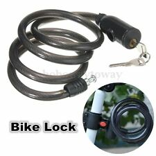 1M Spiral Cable Mountain Bicycle Bike Cycling Cable Lock 2 Key Cycle Chain Black