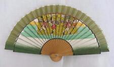 VINTAGE 1940's CHILDREN'S PRINTED WOOD HAND FAN - BOYS PLAYING FOOTBALL