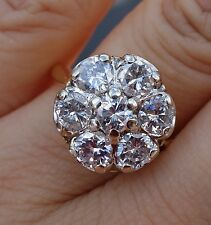 1.93ct 7 diamonds Large Floral illustration set flower engagement ring 14k