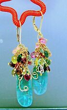 14k Gold GF Tourmaline Briolette Cluster Chrysocolla Slice Gemstone Earrings
