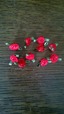 10 Small Satin Ribbon Red rose buds  20mm wide