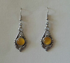 VICTORIAN STYLE GARLAND YELLOW GLASS DARK SILVER PLATED DROP EARRINGS HOOK