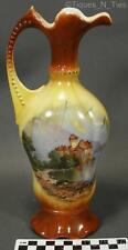 Austria or Czech Porcelain Country Scene Ewer or Pitcher Bud Flower Vase (FF)