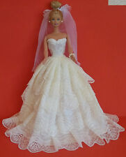 BARBIE SINDY DOLL DRESS BRIDE WEDDING GOWN, VEIL, CLOTHING - BEAUTIFUL, CREAM
