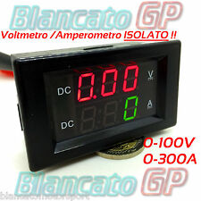 2in1 ISOLATO VOLTMETRO 0-100V AMPEROMETRO 0-300A SHUNT INCLUSO isolated ammeter