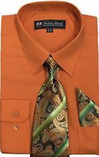 Men's Cotton Blend Dress Shirt with Tie and Handkerchief in 22 different colors