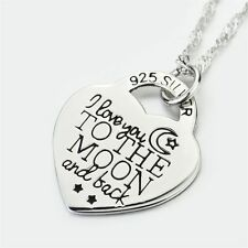 """I love you to the moon and back"" Heart Necklace 925 Sterling Silver Gift 18"""