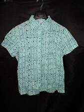 Columbia XL Light Blue Yellow Floral Vine Shirt Short Cap Sleeve Cotton Blouse